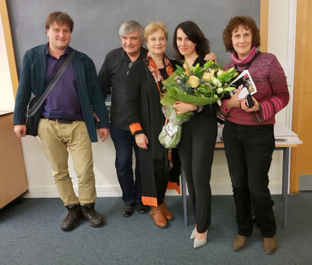 From left to right: Philip Firsov, Dmitri Smirnov, Alissa Firsova with her former music teacher Tatiana Kantorovich, Elena Firsova.